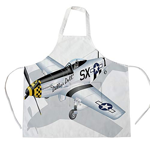 iPrint Cotton Linen Apron,Two Side Pocket,Vintage Airplane Decor,P 51 Mustang Dallas Doll Detailed Illustration American Air Force Decorative,Multicolor,for Cooking Baking Gardening