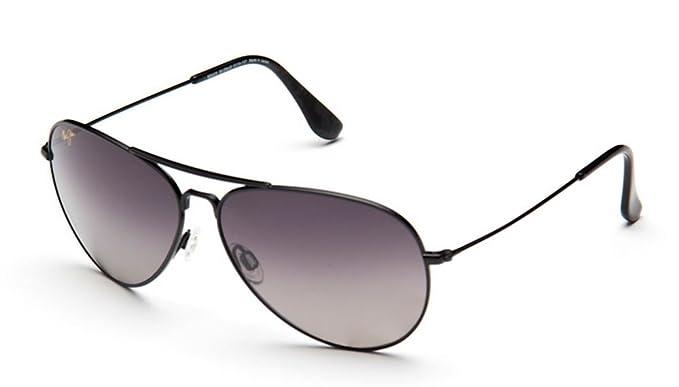 020fe039fcf06 Maui Jim GS264-02 Black Mavericks Aviator Sunglasses Polarised Driving   Amazon.co.uk  Clothing