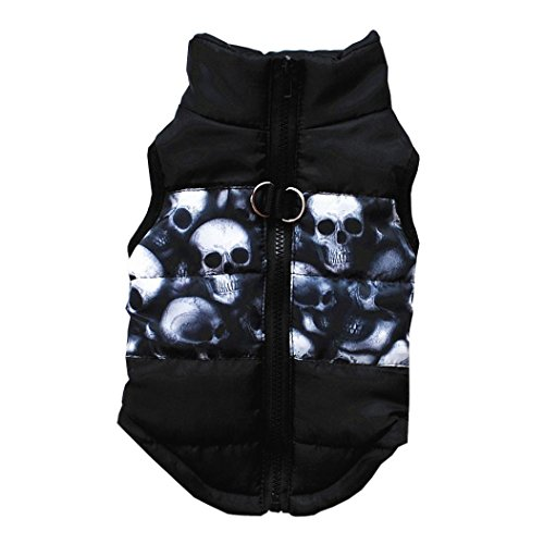 Minisoya Fashion Cat Dogs Coat Vest Jacket Pet Clothes Winter Puppy Printed Zipper Outwear Costume (Black, (Black Cat Costume For Dogs)