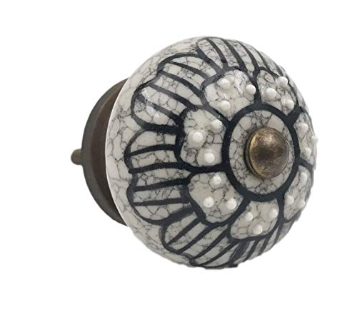 Gray Ceramic - Gray Ceramic Floral Black Design Embossed Knob, Drawer Pull, Cabinet Pull, Dresser Knob - Pack of 12