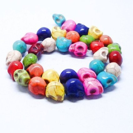 Day Of The Dead Beads - BRCbeads 8x10mm Multi-color Howlite Carved Skull Beads 40pcs 16