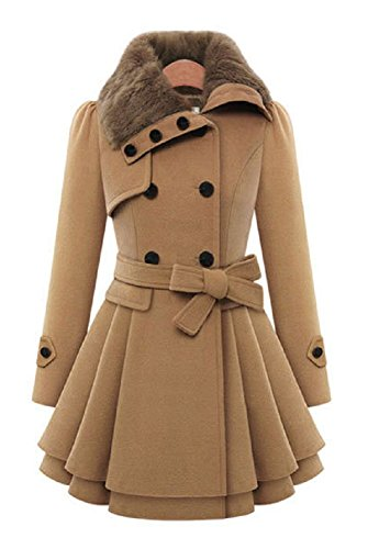 (Sorrica Women's Faux Fur Lapel Double Breasted Thick Wool Trench Coat Jacket With Belt (US.8-10, Brown))