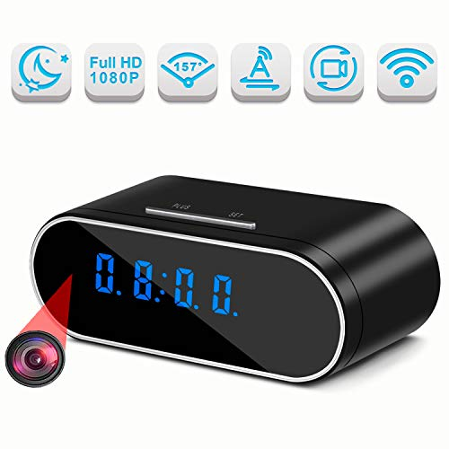 Hidden Cameras, Lastest 1080P WiFi Spy Camera Clock with 157° Angle, Wireless IP Surveillance Camera with Night Vision/Motion Detection/Loop Recording, Nanny Cam for Home Security Monitoring