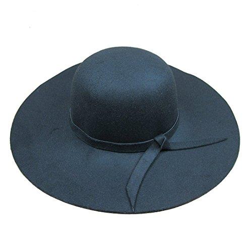 Dis_show Women Retro Wool Blend Sun Hat Floppy Wide Brim Summer Beach Hat (Black)