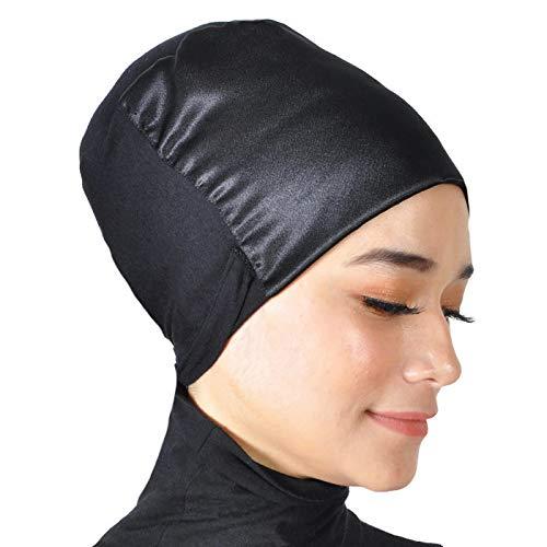 Silk Story Volumizer Cotton Lycra Silk-Like Satin Hijab Turban Bun Under Scarf Chemo Cap Hair Loss Non-Slip(Black)