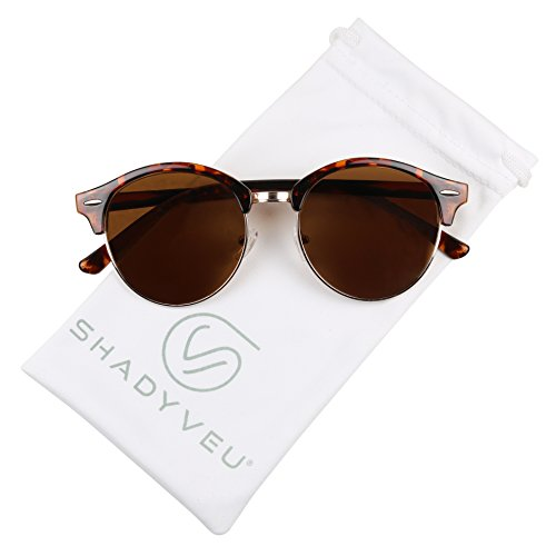 ShadyVEU - Classic Retro Round POLARIZED Semi Half Rim Circle 80's Sunglasses (Tortoise, - Semi Rim Sunglasses