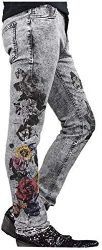スキニー ブラックデニム 薔薇柄 花 ケミカルウォッシュ ジーパン ストレッチ ボトムス パンツ グレーブラック zkt006