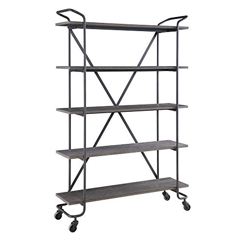 "Edmund 48"" Bookcase in Rocky Mountain Gray and Deep Woods  with Open Display Storage, by Artum Hill"
