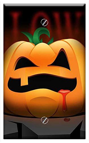 Single-Gang Blank Wall Plate Cover - Halloween Pumpkin Orange Rock Cliff Terrible -