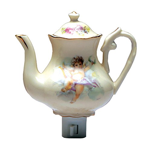 Green Pastures Wholesale Cherub Teapot Porcelain Night Light, 5-Inch by 4-Inch by 6-Inch