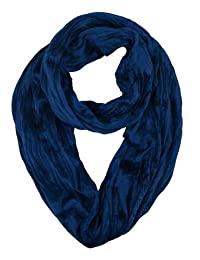 Velvet Wrap infinity Scarf Fashion Soft Loop For Women and Girls (Navy)