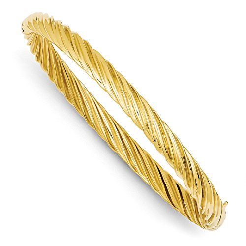 ICE CARATS 14kt Yellow Gold 6.35mm Oversize Swirl Hinged Bangle Bracelet Cuff Expandable Stackable Fine Jewelry Ideal Gifts For Women Gift Set From Heart