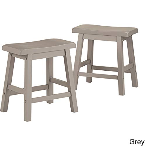 - Inspire Q Salvador Saddle Back 18-inch Backless Stool (Set of 2) by Bold Grey Painted