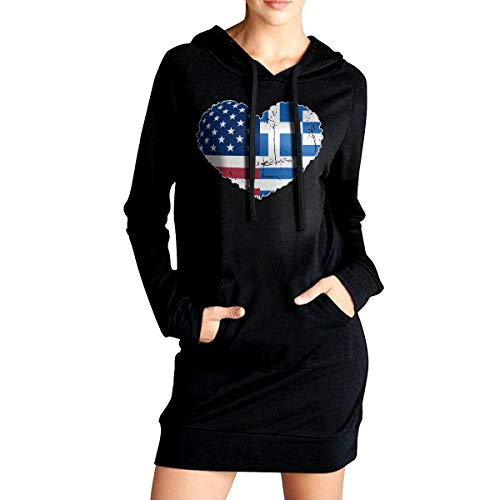 - Womens Greece USA Flag Heart Casual Hoodie Sweatshirt Dresses Loose Sweater Tops with Pockets