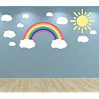 60 Second Makeover Limited Full Colour Pastel Rainbow Clouds and Sun Wall Sticker Decal Set Nursery Baby Room Playroom