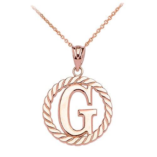 """Collier Femme Pendentif 14 Ct Or Rose """"G"""" Initiale À Corde Cercle (Livré avec une 45cm Chaîne)"""