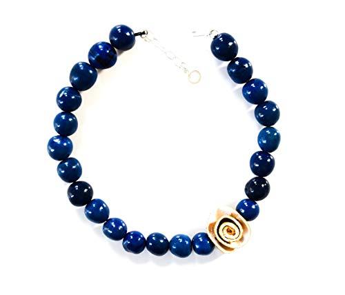 (Artyfactos Organic Eco-Friendly COTA Bombona Necklace, 20 inch Long (Royal Blue - Natural))