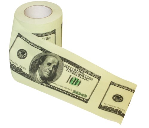 Thumbs Up! 100 Dollar Bill Toilet Roll (Dollar Paper Us Toilet)