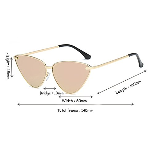 Gafas sol Rosa Sunglasses Vintage Eye Marco Mujeres Cat de Aiweijia Dorado Gafas Resina Espejo Retro OxqIT7wCY