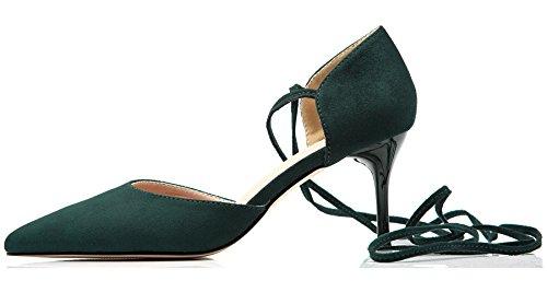 Pointed Stiletto Toe De Verde Zapatos Zapatos Mujer BIGTREE tacón Sandalias Sandalias Vestir profundo Cordones de Gladiador Uq6Pvw876x