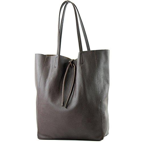 Shopper T163 Pelle Tracolla Colore Dark In A Borsa anthrazitgrau Chocolate Donna Grande tHTw40qfR