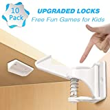 10 Pack Safety Cabinet Locks, Child Proof Drawers | Invisible Design, Easy to Install, No Tools Required, No Drilling Needed, Strong 3M Adhesive | Baby Proofing Kit for Home, Kitchen, Bedroom, White