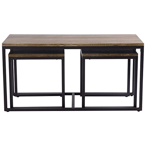 Good concept 3 Piece Table Set Wood Nesting Coffee & End Modern Living Room Furniture Decor