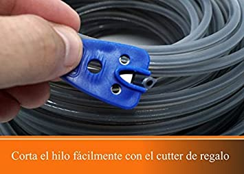 Hilo para desbrozadora - DOBLE - Cuadrado - 2,4mm - 67m - Calidad Ultra Professional - 2 hilos en 1- Embalaje Premium (2,4 mm x 67 m) Black Tornado Tools: Amazon.es: Jardín