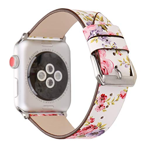with Apple Watch Band 42mm 44mm for Women - Floral Leather Compatible iWatch Bands/Strap for Series 4 3 2 1 ()