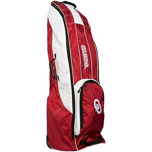 Team Golf NCAA Oklahoma Sooners Travel Golf Bag, High-Impact Plastic Wheelbase, Smooth & Quite Transport, Includes Built-in Shoe Bag, Internal Padding, & ID Card Holder