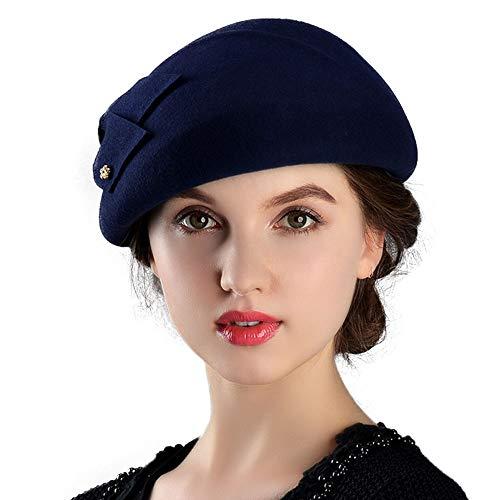- F FADVES Womens Wool Felt French Berets Bowler Hat Artist Boina Bowknot Cap Navy