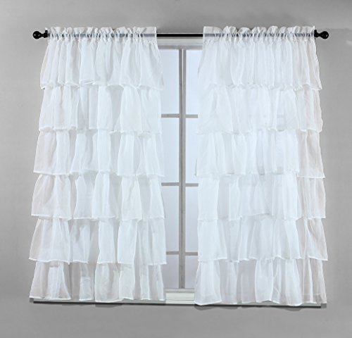 2 Piece Set -Solid WHITE Gypsy Ruffle Sheer – Crushed Voile Shabby Chic Window Panels / Drapes / Curtains 108″ Wide X 63″ long