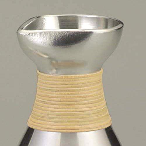 Osaka Naniwa Suzuki,Japanese Pure Tin Sake Bottle & Cup /13-11 JOUKAN(Warm Sake) Set