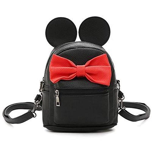 Cute Mouse Ears Mickey Minnie Backpack Handbag by A2ZOOM (Black) by A2ZOOM