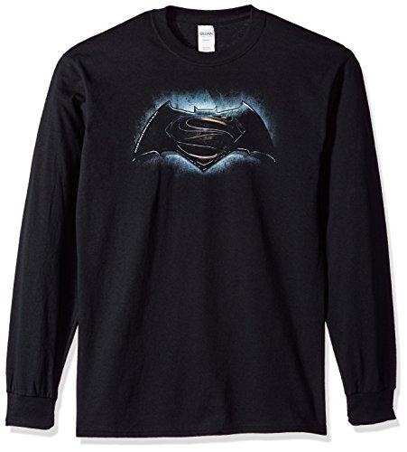 Trevco Men's Batman v Superman Longsleeve T-Shirt, Logo Black -