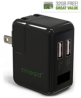 Hidden Camera Charger by Timeqid | Free Memory Card Included - With/Without WiFi - Double Charging Ports - Full HD 1080p - Nanny Camera - Black by Timeqid