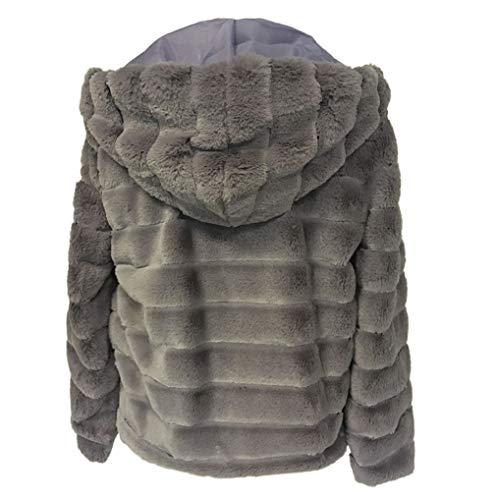 Fourrure Outercoat Occasionnels À Fausse B Manteaux Cardigan Femmes Épais En D'hiver Veste Gris Fnkdor Pour Furry Capuche Chaud AqtxZFww6