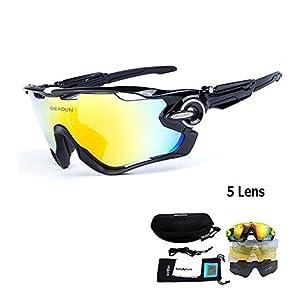 Cycling Glasses MTB Bicycle Sport Bike Sunglasses And Polarized Pesca Glasses 5 Lens (Black)