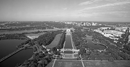 Vintography 24 x 36 B&W Giclee Print of View of The Lincoln Memorial, Reflecting Pool, and WWII Memorial, from The Washington Monument, NW, Washington, D.C. 2010 Highsmith 87a
