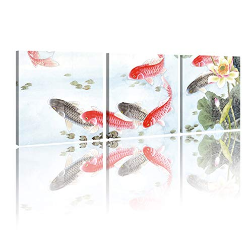 HVEST Fish Canvas Wall Art-Koi Swimming in Lotus Pond Artwork Japanese Carp Painting Flower and Green Leaf Picture Prints for Bedroom Living Room Bathroom Office Wall Decor,16x16 inch/Piece,3 Panels - Flower Chinese Lotus Art