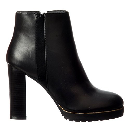 Heel Gold Onlineshoe Mid Studs Black Ladies Black Tan Block Boot Women's Ankle Burgundy UYppq14fwn