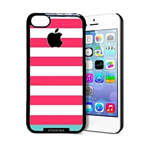 Shawnex Pink Blue Stripes iPhone 5C Case - Thin Shell Plastic Protective Case iPhone 5C Case