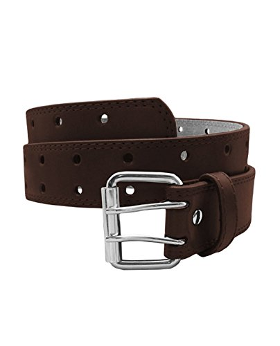 EURO Womens Thick Wide 2 Hole Leather Belt - BN9041 - Brown 6XL