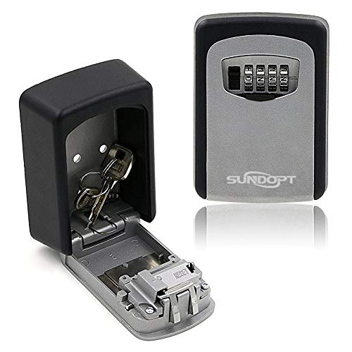 Key Lock Box for Outside Wall Mount 4 Digit Combination Lock Box Security Key Storage Lock Box
