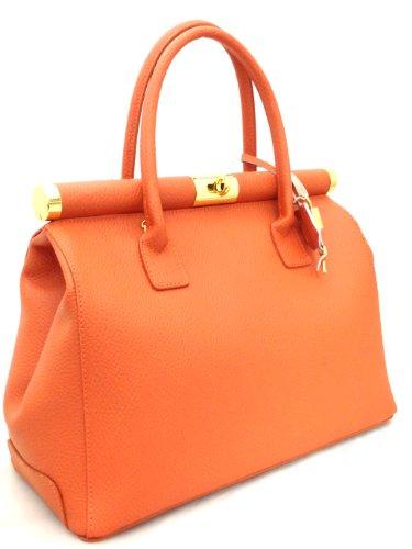 élégante Beige Bag femme véritable cuir in bandoulière 35x28x16cm Italy Satchel Made CTM Brique en poignées cqITB5qS
