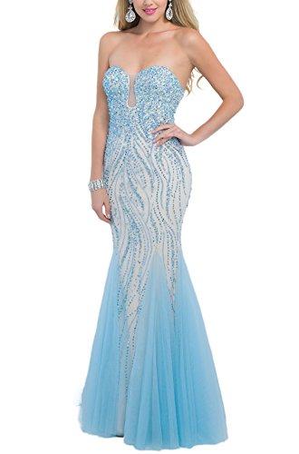 Bridal_Mall - Robe - Cocktail - Sans Manche - Femme -  Bleu - 36