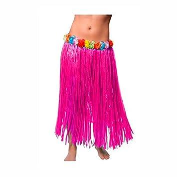 Falda Hawaiana Adulto Hula Fucsia (80 cm): Amazon.es: Juguetes y ...