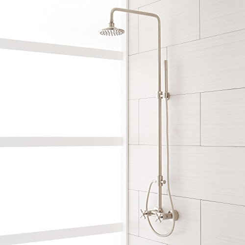 Naiture Brass Exposed Pipe Shower System With Rainfall Shower Head And Hand Shower In Brushed Nickel Finish