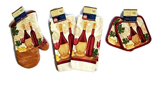 Home Collection Wine & Cheese Lovers Kitchen Linen Set (#2018) (Includes: one Oven mitt, Two Towels, and Two Pot Holders)