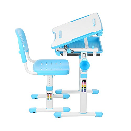 IKAYAA Height Adjustable Kid's Study Desk and Chair Set with Paper Roll Holder 0-40° by IKAYAA (Image #1)